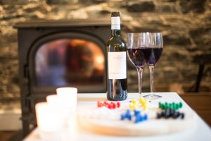 Wine, games, roaring fire to relax