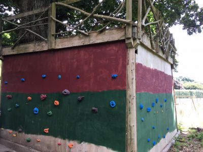 Climbing wall, tree house, mud kitchen