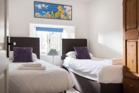 Blue bedroom as twin