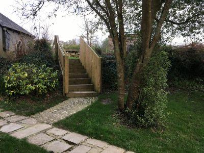 Steps from lower garden to upper terrace